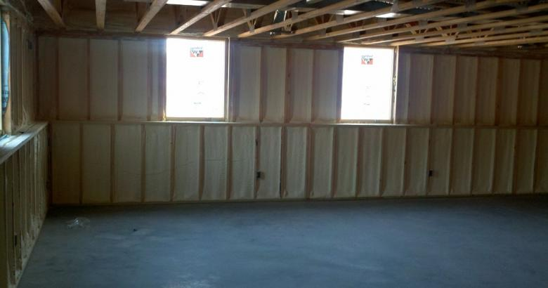 Spray foam insulation in basement